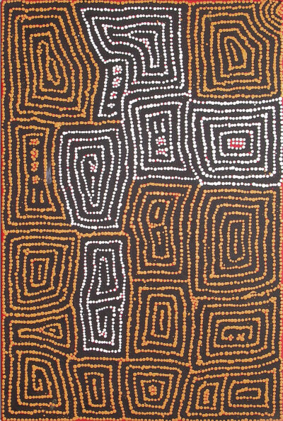 Barney Campbell Tjakamarra - Malliera Initiation Ceremonies - 61 x 91 cm - Cat 9495BC