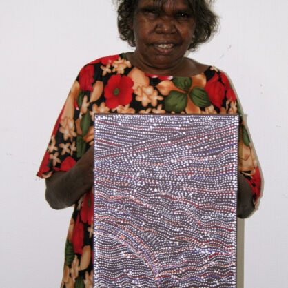Artist Dorothy Napangardi with artwork Sandhills (2008) - Cat 13797DN