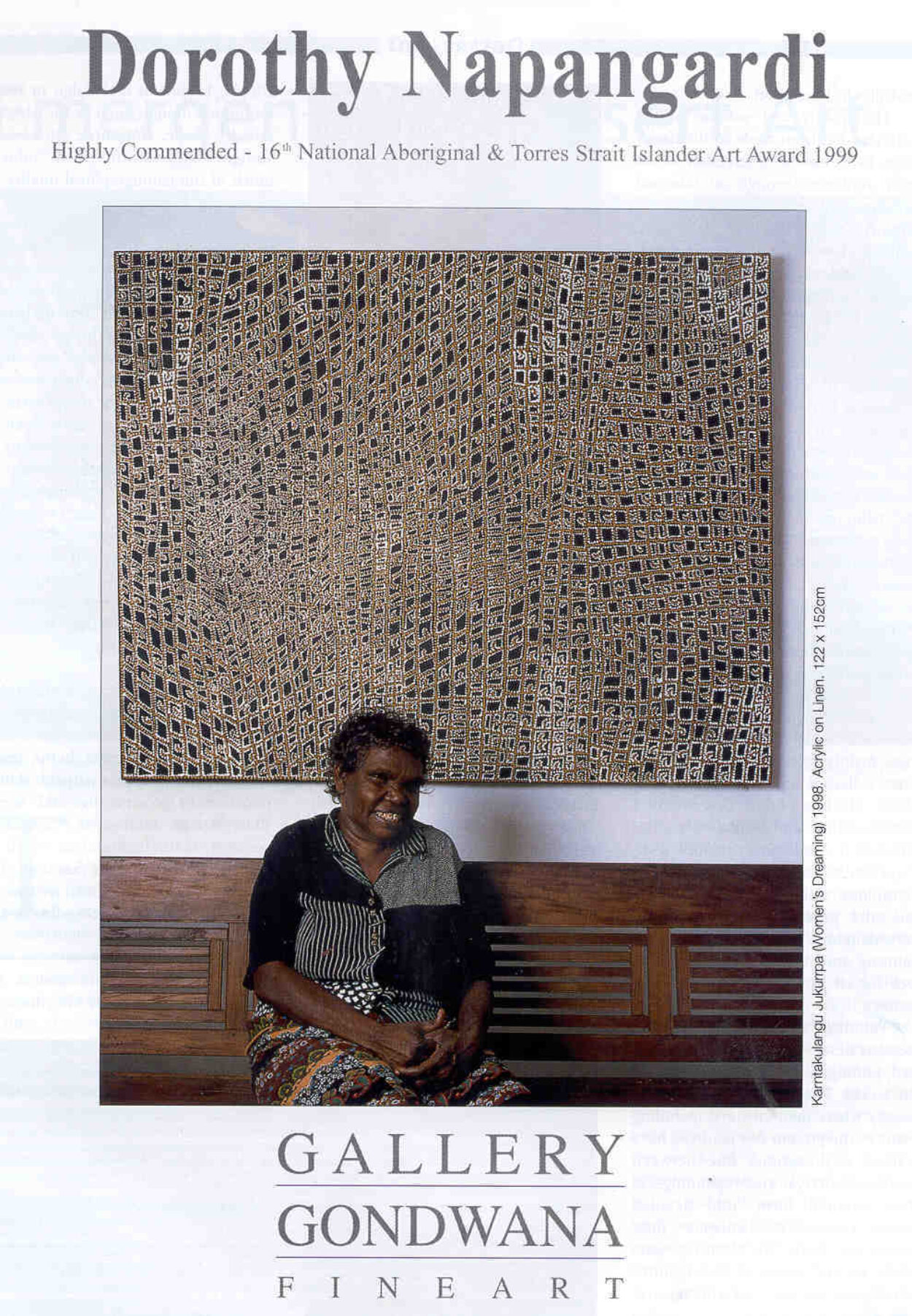 Dorothy Napangardi - Highly Commended - 16th National Aboriginal & Torres Strait Islander Art Award 1999 © Gallery Gondwana