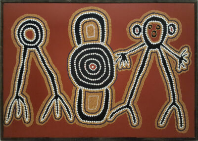 Linda Syddick Napaltjarri - Emu, 2 Men and Kangaroo - Dreamtime Spirits - 60 x 42 cm - Cat 155-90LS