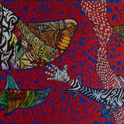 Rusiate Lali - Shark Attack (from Exhibition Climate Change, 2017) - 61 x 198 cm - Cat 14036RL