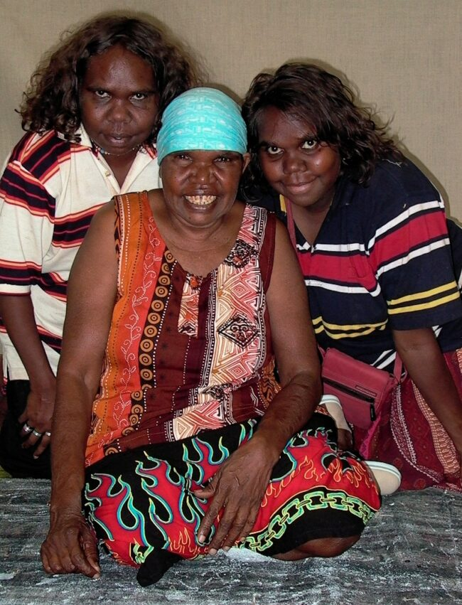 Dorothy Napangardi and her daughters Julie Robinson Nangala and Sabrina Sabrina Robinson Nangala